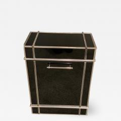 Donald Deskey RARE ART DECO SKYSCRAPER VITROLITE AND NICKELED BRONZE HAMPER - 1389502