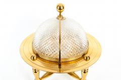 Dore Bronze Cut Crystal Globe Shape Liquor Cave Tantalus - 1170936