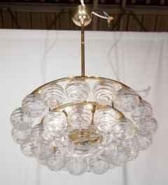 Doria Leuchten Brass Doria Chandlier with Organic Glass Orbs - 1826724