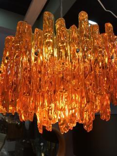 Doria Leuchten Mid Century Orange Acrylic Icicle Chandelier - 516824