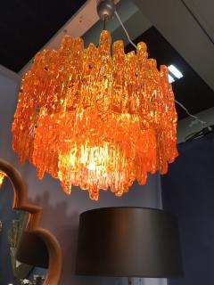 Doria Leuchten Mid Century Orange Acrylic Icicle Chandelier - 516825