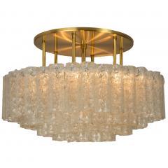 Doria Leuchten One of the Two Large Blown Glass Brass Flush Mount Light Fixtures by Doria - 1039477