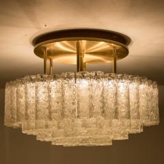 Doria Leuchten One of the Two Large Blown Glass Brass Flush Mount Light Fixtures by Doria - 1039478