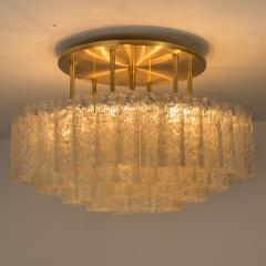 Doria Leuchten One of the Two Large Blown Glass Brass Flush Mount Light Fixtures by Doria - 1039484