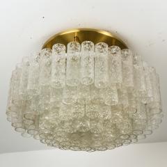 Doria Leuchten One of the Two Large Blown Glass Brass Flush Mount Light Fixtures by Doria - 1039488