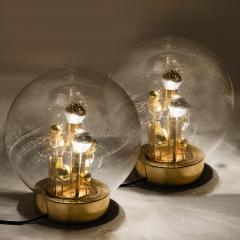 Doria Leuchten Pair of Large Hand Blown Bubble Glass Doria Table Lamps 1970 - 1027695
