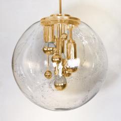 Doria Leuchten Pair of Space Age Brass and Blown Glass Lights By Doria 1970s - 1154634