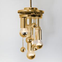 Doria Leuchten Pair of Space Age Brass and Blown Glass Lights By Doria 1970s - 1154635