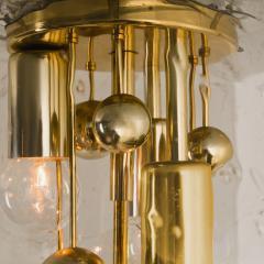 Doria Leuchten Pair of Space Age Brass and Blown Glass Lights By Doria 1970s - 1154636