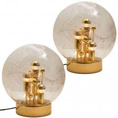 Doria Leuchten Pair of Space Age Brass and Blown Glass Lights By Doria 1970s - 1154638