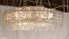 Doria Leuchten Two Tier Organic Glass Flushmount with Brass Surround - 1826613