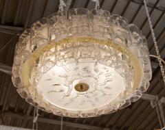 Doria Leuchten Two Tier Organic Glass Flushmount with Brass Surround - 1826615