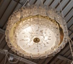 Doria Leuchten Two Tier Organic Glass Flushmount with Brass Surround - 1826616