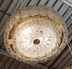 Doria Leuchten Two Tier Organic Glass Flushmount with Brass Surround - 1826617
