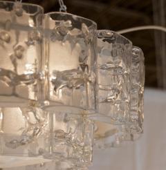 Doria Leuchten Two Tier Organic Glass Flushmount with Brass Surround - 1826619