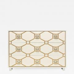Dorothy Draper Dorothy Draper Viennese Collection Ivory Chest with Gold Incised Drawers - 2015740