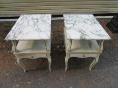 Dorothy Draper Lovely Pair Dorothy Draper style Marble Top Night Stands Hollywood Regency - 1139263
