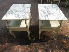 Dorothy Draper Lovely Pair Dorothy Draper style Marble Top Night Stands Hollywood Regency - 1139273