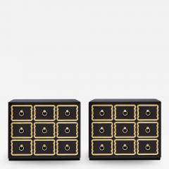Dorothy Draper Pair of Authentic Dorothy Draper Espana Chests in Traditional Black Bean - 1972928