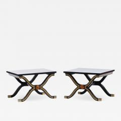Dorothy Draper Pair of Dorothy Draper Espa a Side Tables in Original Black and Gold Lacquer - 1972938