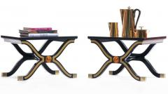 Dorothy Draper Pair of Dorothy Draper Espa a Side Tables in Original Black and Gold Lacquer - 1976585