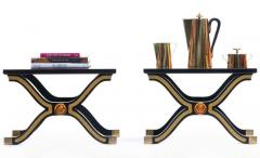 Dorothy Draper Pair of Dorothy Draper Espa a Side Tables in Original Black and Gold Lacquer - 1976587