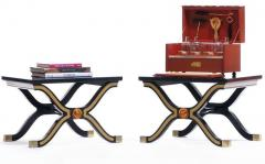 Dorothy Draper Pair of Dorothy Draper Espa a Side Tables in Original Black and Gold Lacquer - 1976590