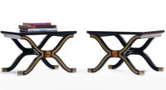 Dorothy Draper Pair of Dorothy Draper Espa a Side Tables in Original Black and Gold Lacquer - 1976592