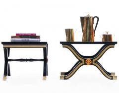 Dorothy Draper Pair of Dorothy Draper Espa a Side Tables in Original Black and Gold Lacquer - 1976593