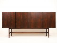 Dramatic Scandinavian Modern Rosewood Four Door Cabinet w Bar Feature - 2014331