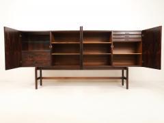 Dramatic Scandinavian Modern Rosewood Four Door Cabinet w Bar Feature - 2014332