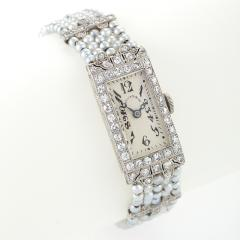 Dreicer Co Dreicer Co Art Deco Diamond Seed Pearl Platinum and Gold Wrist Watch - 256349