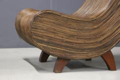 Drop shaped bamboo chaise lounge with Ottoman 1980s - 1511440