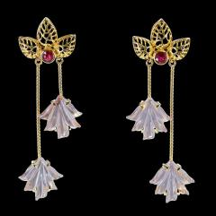 Dual Carved Rose Quartz Earrings with Gold Leaf Work with Ruby - 1829797