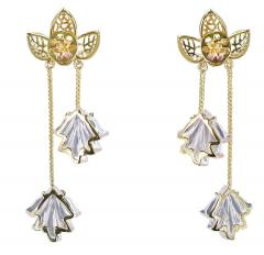 Dual Carved Rose Quartz Earrings with Gold Leaf Work with Ruby - 1829798