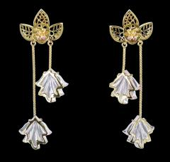 Dual Carved Rose Quartz Earrings with Gold Leaf Work with Ruby - 1829799