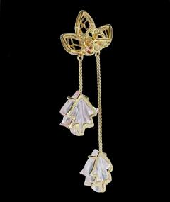 Dual Carved Rose Quartz Earrings with Gold Leaf Work with Ruby - 1829801