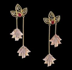 Dual Carved Rose Quartz Earrings with Gold Leaf Work with Ruby - 1829804