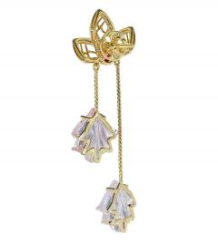 Dual Carved Rose Quartz Earrings with Gold Leaf Work with Ruby - 1829805