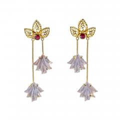 Dual Carved Rose Quartz Earrings with Gold Leaf Work with Ruby - 1829971