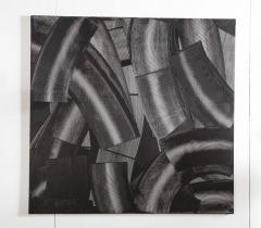 Duayne Hatchett Abstract Black and White Trowel Painting by Duayne Hatchett - 1089856