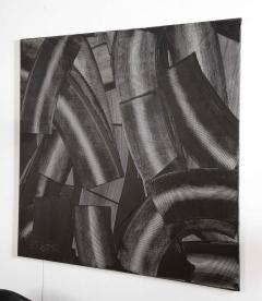 Duayne Hatchett Abstract Black and White Trowel Painting by Duayne Hatchett - 1089857