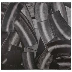 Duayne Hatchett Abstract Black and White Trowel Painting by Duayne Hatchett - 1089859