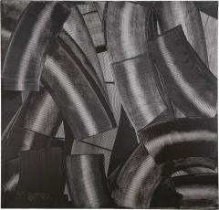 Duayne Hatchett Abstract Black and White Trowel Painting by Duayne Hatchett - 1090983