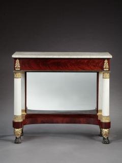 Duncan Phyfe Federal Marble Top Pier Table with Gilt Decorated Paw Feet - 695352