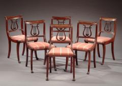 Duncan Phyfe Set of Six Lyre Back Side Chairs attributed to the Workshop of Duncan Phyfe - 503298