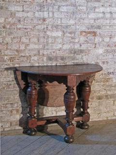 Dutch 18th century round Drop Leaf Table or Demilune Console - 627138