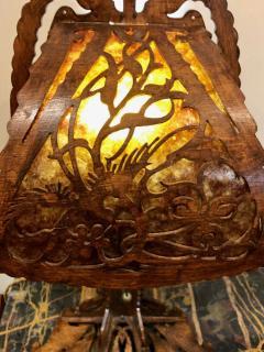 Dutch Arts and Crafts Amsterdam School scroll cut Birch Lamp Mica 1920 - 1352414