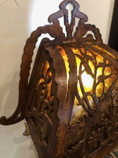 Dutch Arts and Crafts Amsterdam School scroll cut Birch Lamp Mica 1920 - 1352415