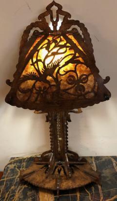 Dutch Arts and Crafts Amsterdam School scroll cut Birch Lamp Mica 1920 - 1352417